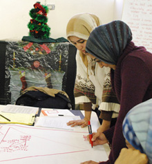 A visioning exercise with two young leaders, Seemi and Amina